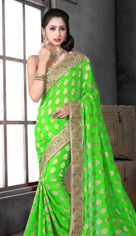 Light Green Bhagalpuri Silk Heavy Resam Saree