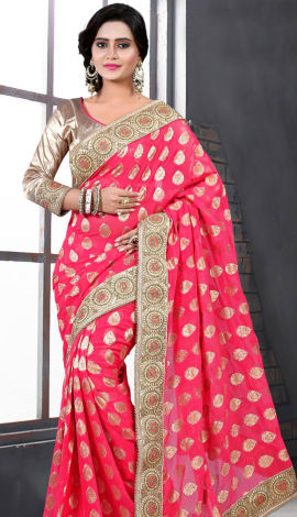 Light Pink Bhagalpuri Silk Heavy Resam Saree