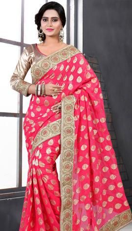 Light Pink Bhagalpuri Silk Heavy Resam Saree