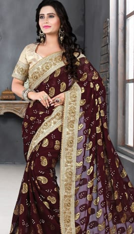 Maroon & Golden Bhagalpuri Silk Heavy Resam Saree