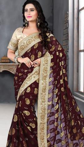 Maroon & Golden Bhagalpuri Silk Heavy Resam Saree