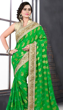 Light Green & Golden Bhagalpuri Silk Heavy Resam Saree