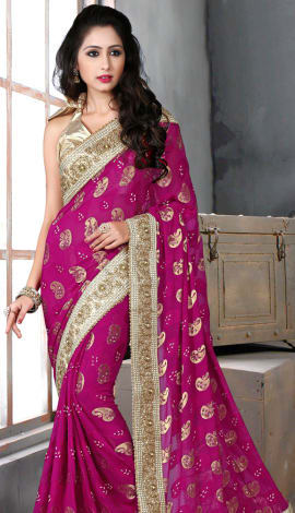 Pink & Golden Bhagalpuri Silk Heavy Resam Saree
