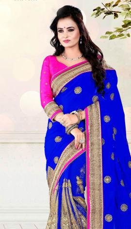 Light Blue Digital Net Saree