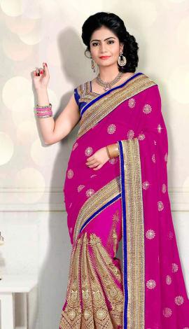 Pink Digital Net Saree