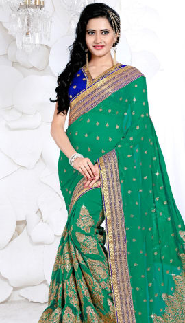 Green Digital Net Saree