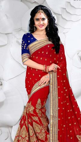 Red Digital Net Saree