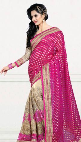 Pink & Cream Digital Net Saree