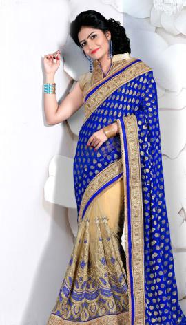 Blue & Cream Digital Net Saree