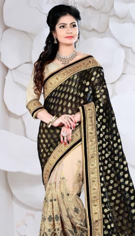 Black & Cream Digital Net Saree