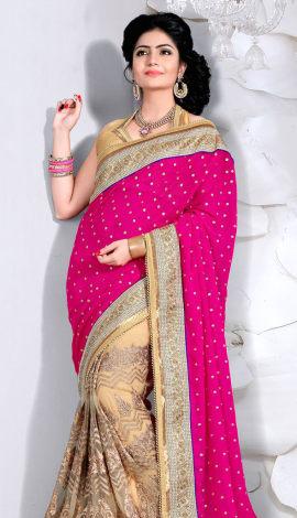 Pink & Crema Digital Net Saree