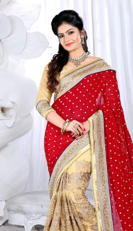Red & Cream Digital Net Saree