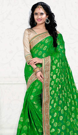 Green Digital Net Saree
