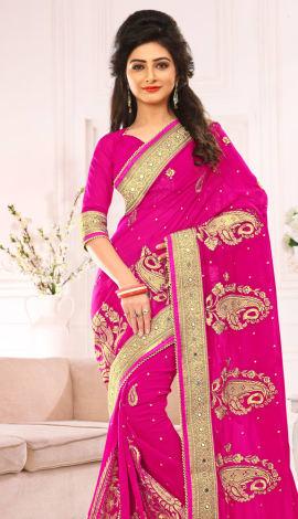 Pink Pure Viscos Jorget Saree