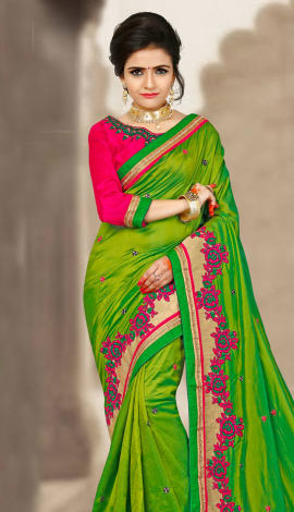 Green & Pink 2 Ton Silk Saree