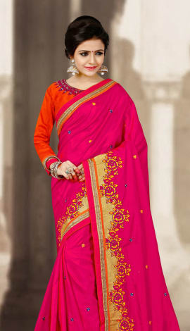 Pink & Orange 2 Ton Silk Saree