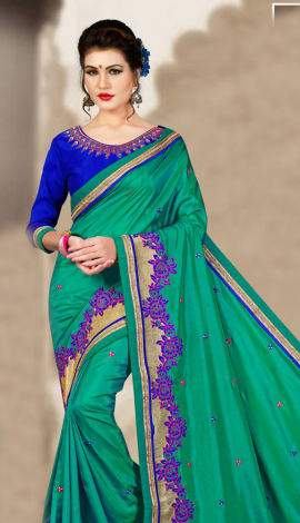 Multi Blue 2 Ton Silk Saree
