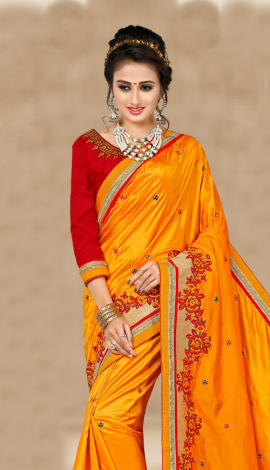 Orange & Maroon 2 Ton Silk Saree