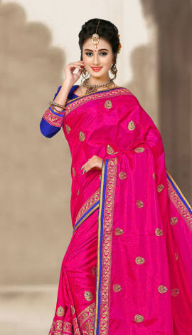 Pink & Blue 2 Ton Jequard Short Silk Saree