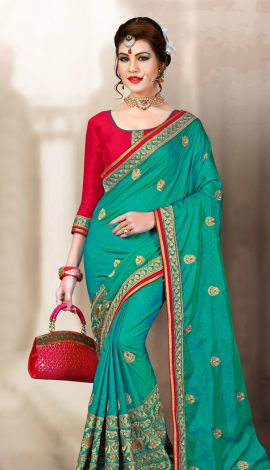 Blue & Red 2 Ton Jequard Short Silk Saree