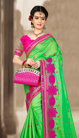 Green & Pink 2 Ton Jequard Short Silk Saree