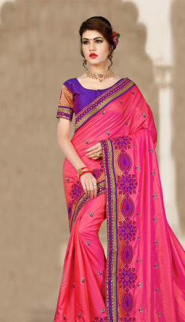 Red & Bagni 2 Ton Jequard Short Silk Saree