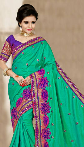 Blue & Bagni 2 Ton Jequard Short Silk Saree