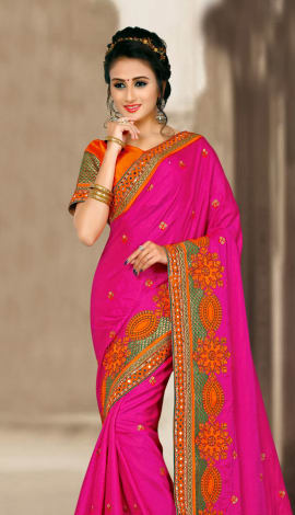 Pink & Orange 2 Ton Jequard Short Silk Saree