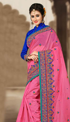 Pink & Blue Chanderi Silk Saree