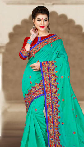 Blue & Maroon Chanderi Silk Saree