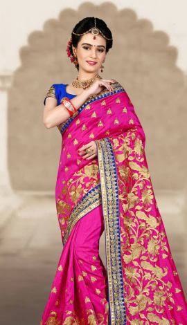 Pink & Blue 2 Ton Short Milano Silk Saree