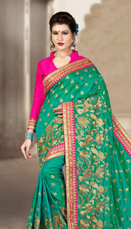 Blue & Pink 2 Ton Short Milano Silk Saree