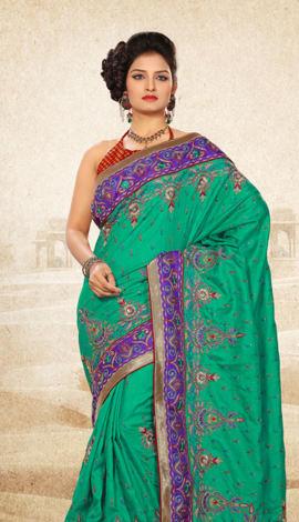Light Blue Bhagalpuri Jq+Jute Silk Pallu Multy Saree
