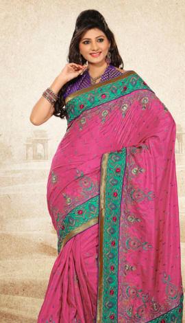 Pink & Blue Bhagalpuri Jq+Jute Silk Pallu Multy Saree