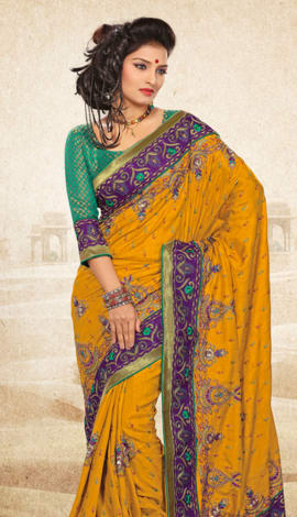 Orange Bhagalpuri Jq+Jute Silk Pallu Multy Saree