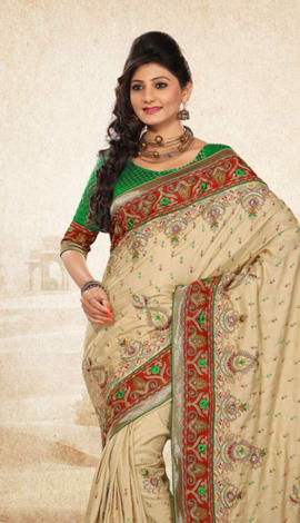 Cream Bhagalpuri Jq+Jute Silk Pallu Multy Saree