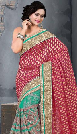 Pink & Blue Bhagalpuri Silk Heavy Resam Saree