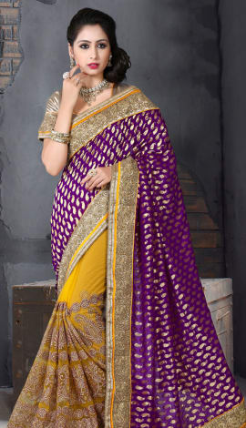 Perple & Orange Bhagalpuri Silk Heavy Resam Saree