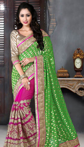 Green & Pink Bhagalpuri Silk Heavy Resam Saree