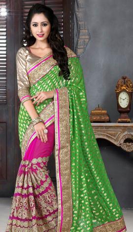 Green & Pink Bhagalpuri Silk Heavy Resam Saree
