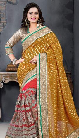 Light Pink & Yelloow Bhagalpuri Silk Heavy Resam Saree