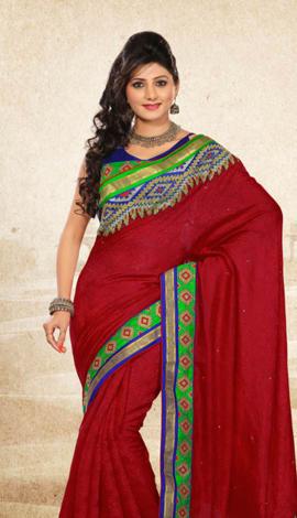 Red Bhagalpuri Jq+Jute Silk Pallu Multy Saree