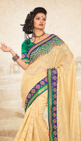 Cream Bhagalpuri Jq+Jute Silk Pallu Multy Saree