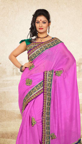 Perple Bhagalpuri Jq+Jute Silk Pallu Multy Saree