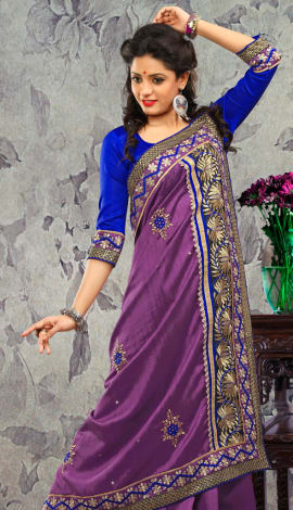 Dark Perple Bhagalpuri Silk & Heavy Jari Saree
