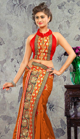 Light Brown Bhagalpuri Silk & Heavy Jari Saree