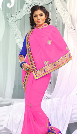 Pink Jq  Pallu Cotton Resam  & Badla, Saree