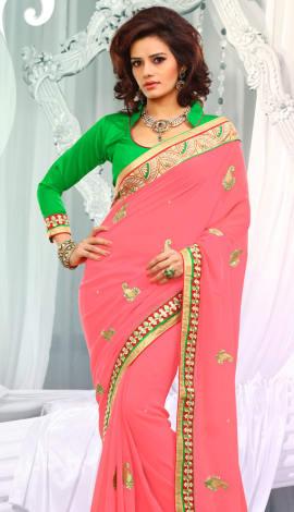 Pink & Green Jq  Pallu Cotton Resam  & Badla, Saree