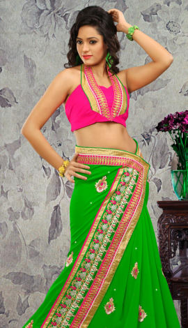 Green Bhagalpuri Silk & Heavy Jari Saree