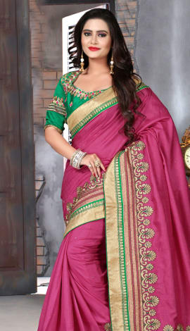 Pink & Blue Bhagalpuri Silk Heavy Resam Saree